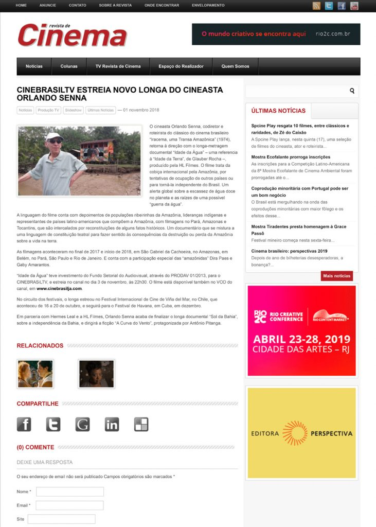 CineBrasilTV estreia novo longa do cineasta Orlando Senna | Revista de Cinema-1
